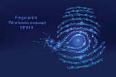 Abstract  Digital-fingerprint with points, lines, and shapes in the form vector wireframe concept,technology