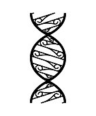 Abstract DNA strand symbol. Isolated on white background. Vector concept illustration