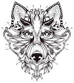 Abstract Dog Head Tattoo illustration