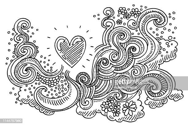 abstract doodle love pattern drawing - doodle stock illustrations