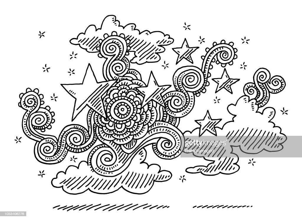 Abstrakte Doodle Muster Wolke Sterne Zeichnung : Vektorgrafik