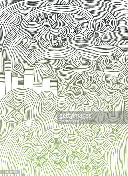 Abstract doodle pattern of landscape with factory and smoke