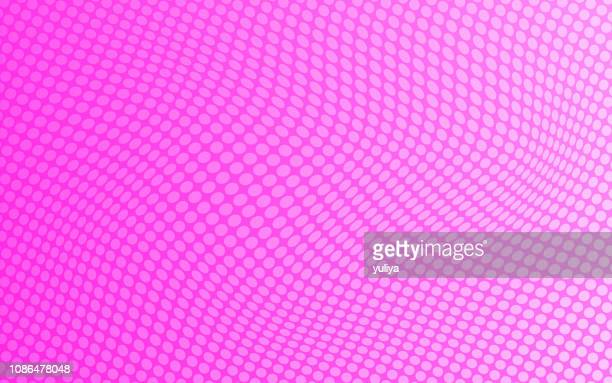 abstract dotted background with pink color and wave pattern - pink background stock illustrations, clip art, cartoons, & icons