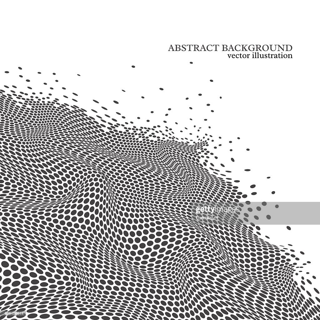 Abstract dotted wave background, 3d effect.