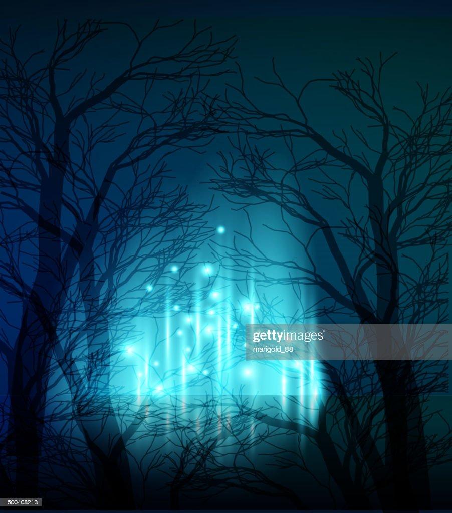 Abstract dramatic night tree