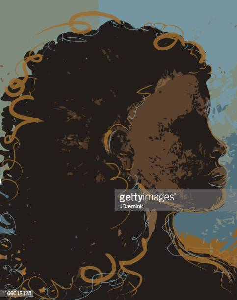 abstract drawing of a proud african woman - afro stock illustrations