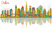 Abstract Dubai UAE City Skyline with Color Buildings and Reflections.
