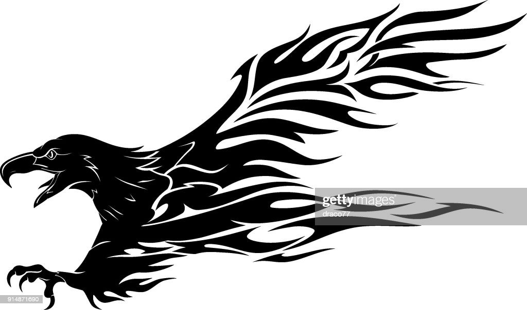 Abstract Eagle Flame Tattoo