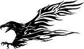 Abstract Eagle Flame Tattoo
