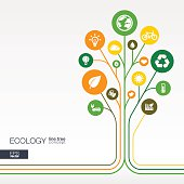 Abstract ecology tree background with connected circles, integrated flat icons.