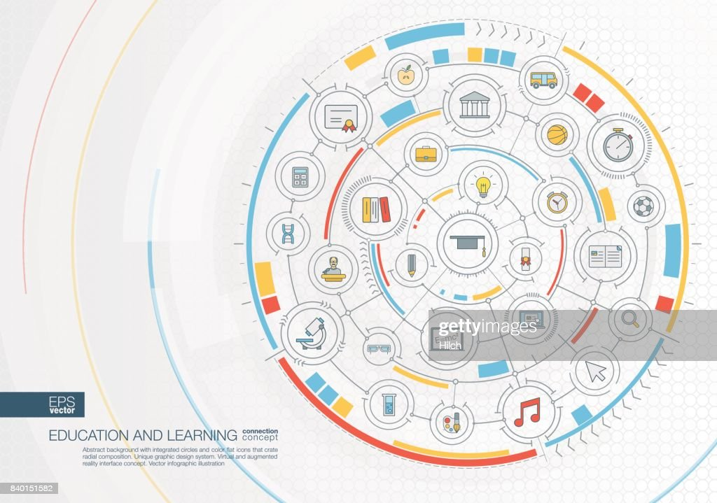 Abstract education and learning background. Digital connect system with integrated circles, color flat icons.