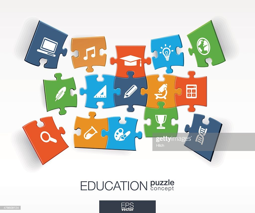 Abstract education background, connected color puzzles, integrated flat icons