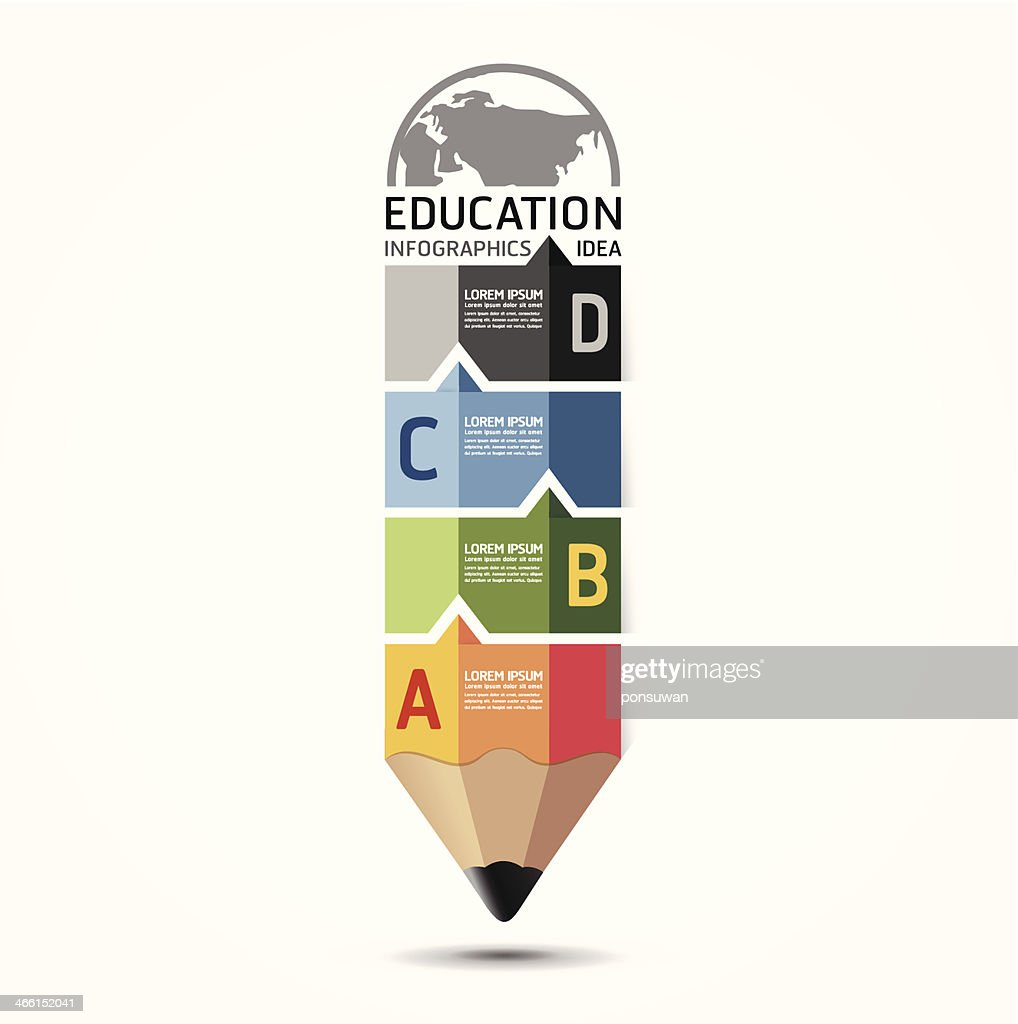 Abstract education infographic in pencil shape