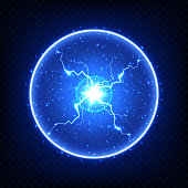 Abstract electric element, glowing ball lightning. Isolated on dark transparent background. Realistic vector illustration