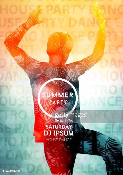 illustrazioni stock, clip art, cartoni animati e icone di tendenza di abstract electronic dance party night poster - rock formation