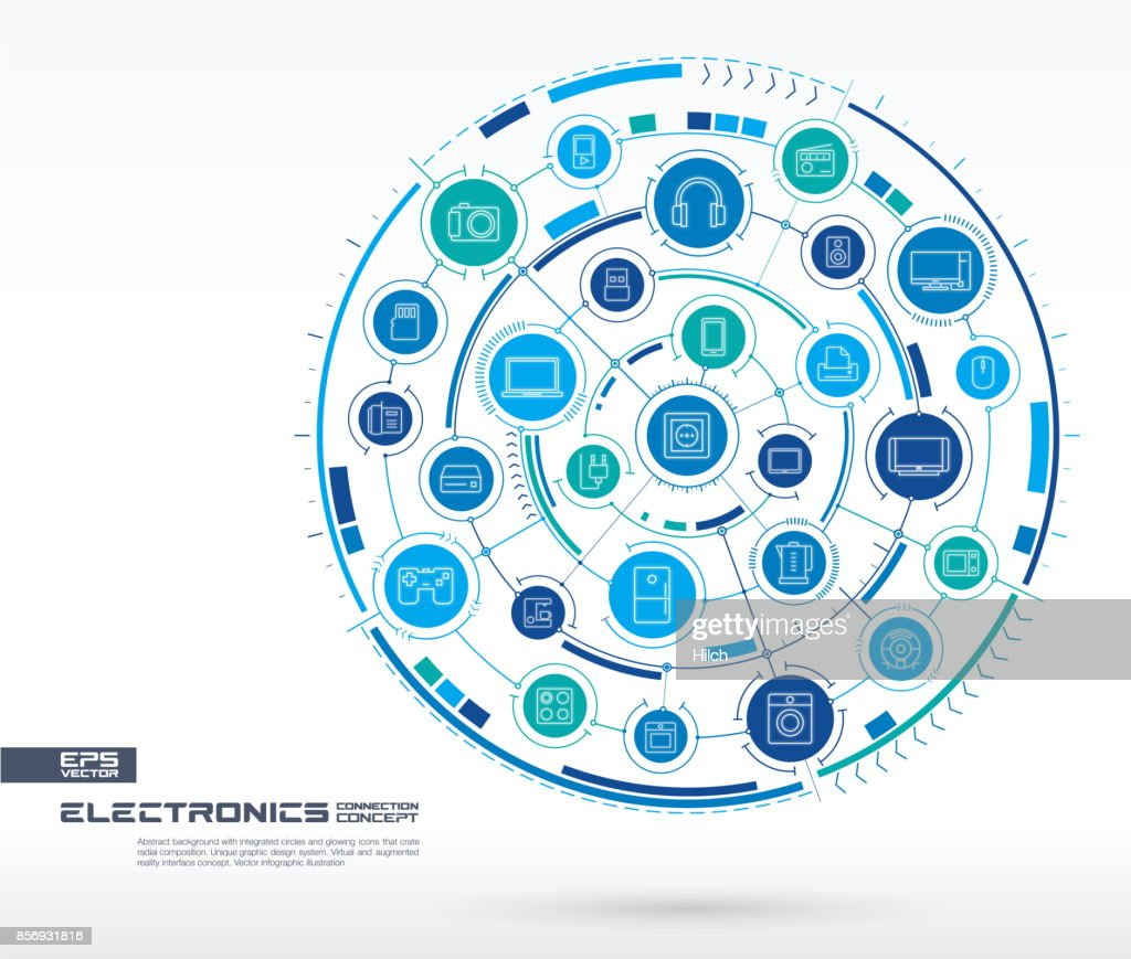 Abstract electronic technology background. Digital connect system with integrated circles, glowing thin line icons.