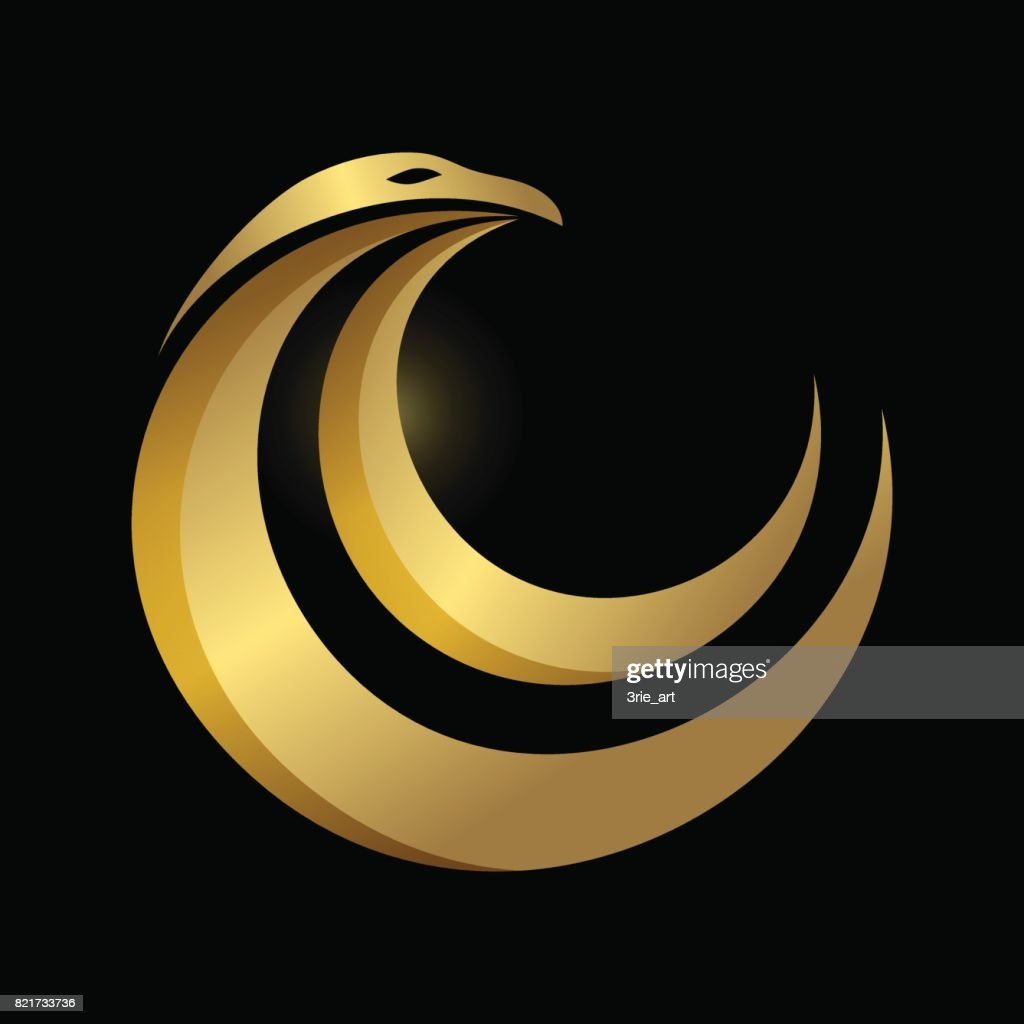 abstract elegant and modern style gold eagle icon isolated in black