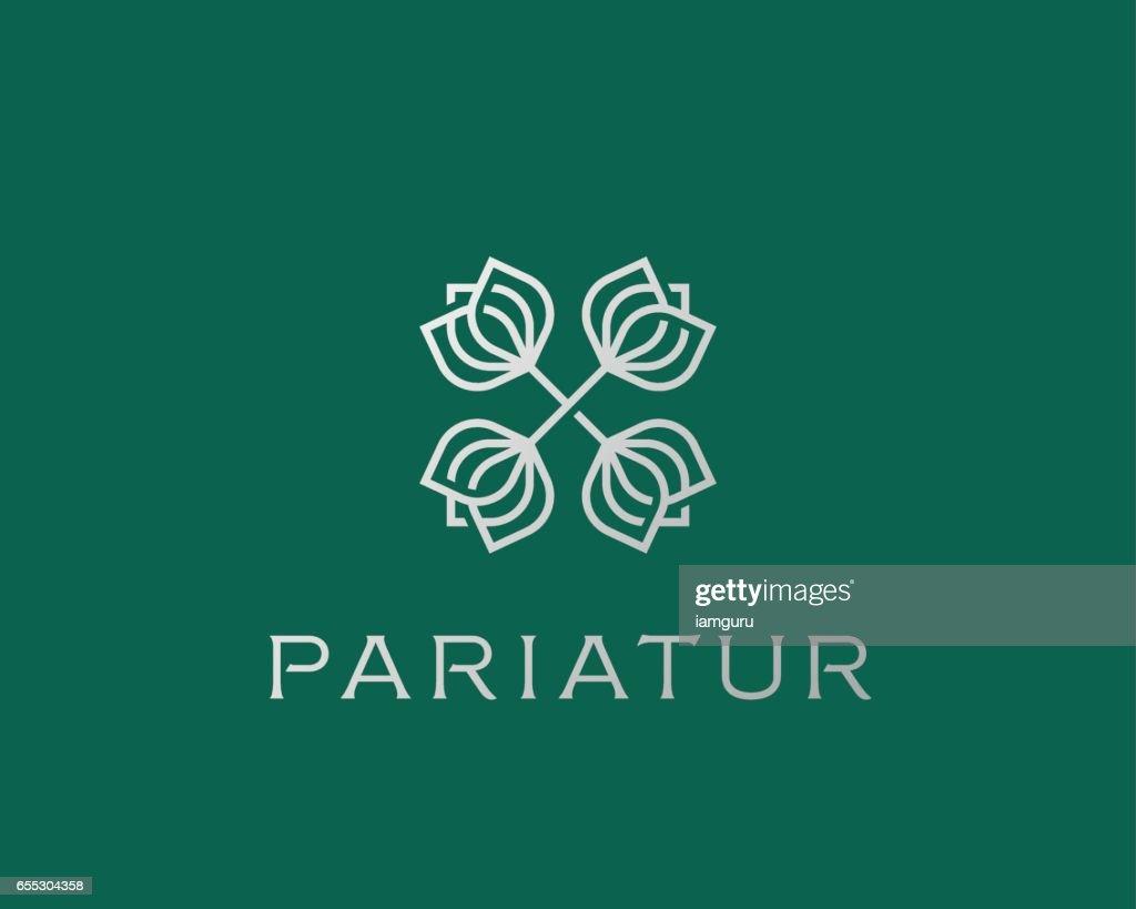 Abstract elegant flower crest logo icon design. Universal creative premium line symbol. Graceful vector logotype sign.