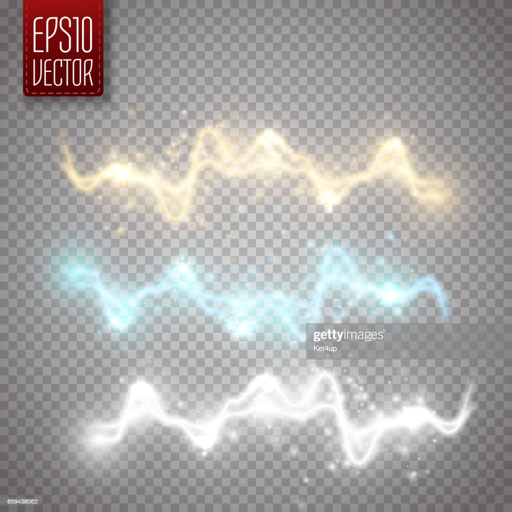 Abstract energy shock effect with many glowing particles. Vector illustration