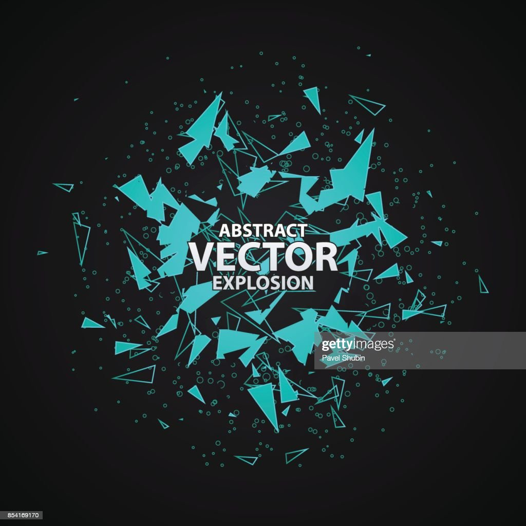 Abstract explosion with polygonal particles concept.