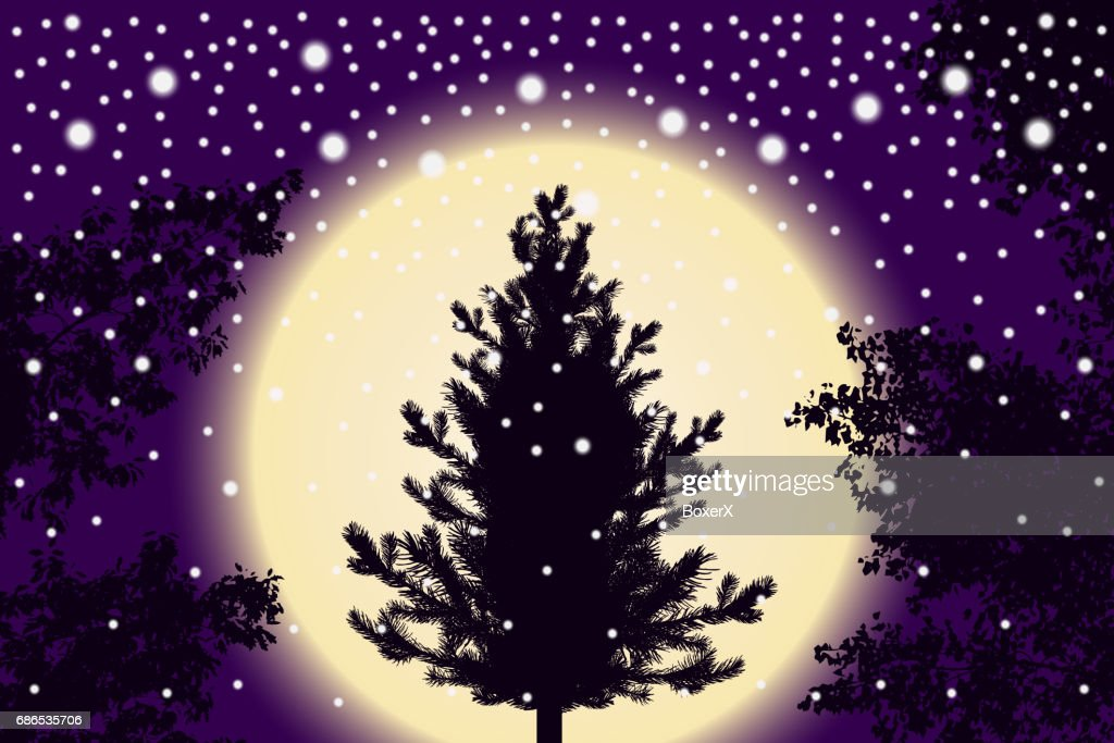 abstract falling snow particles new year christmas tree and contour of tree leaves on purple sunset background style background for presentation