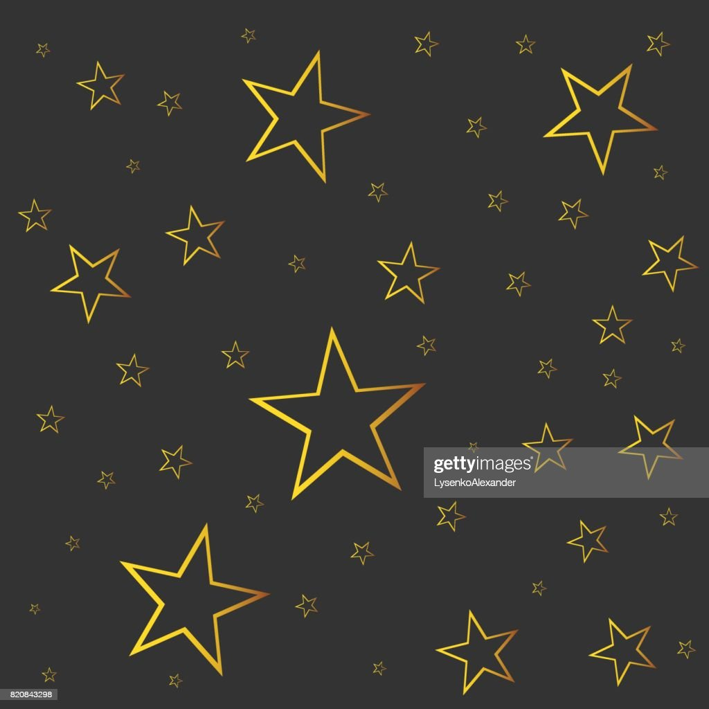 Abstract falling star vector. Illustration with golden christmas stars on black background