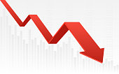 abstract financial chart with red color 3d downtrend line graph and numbers in stock market on gradient white color background