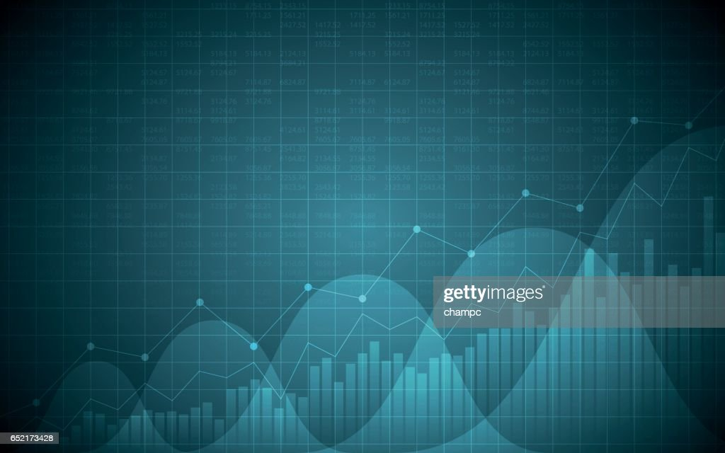 Abstract Financial chart with uptrend line in gradient blue color