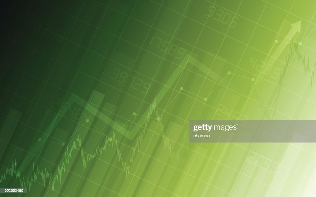 Abstract Financial chart with uptrend line in gradient green color