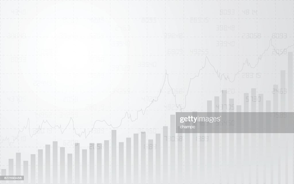 abstract financial with line graph, bar chart and stock numbers in stock market on gradient gray color background