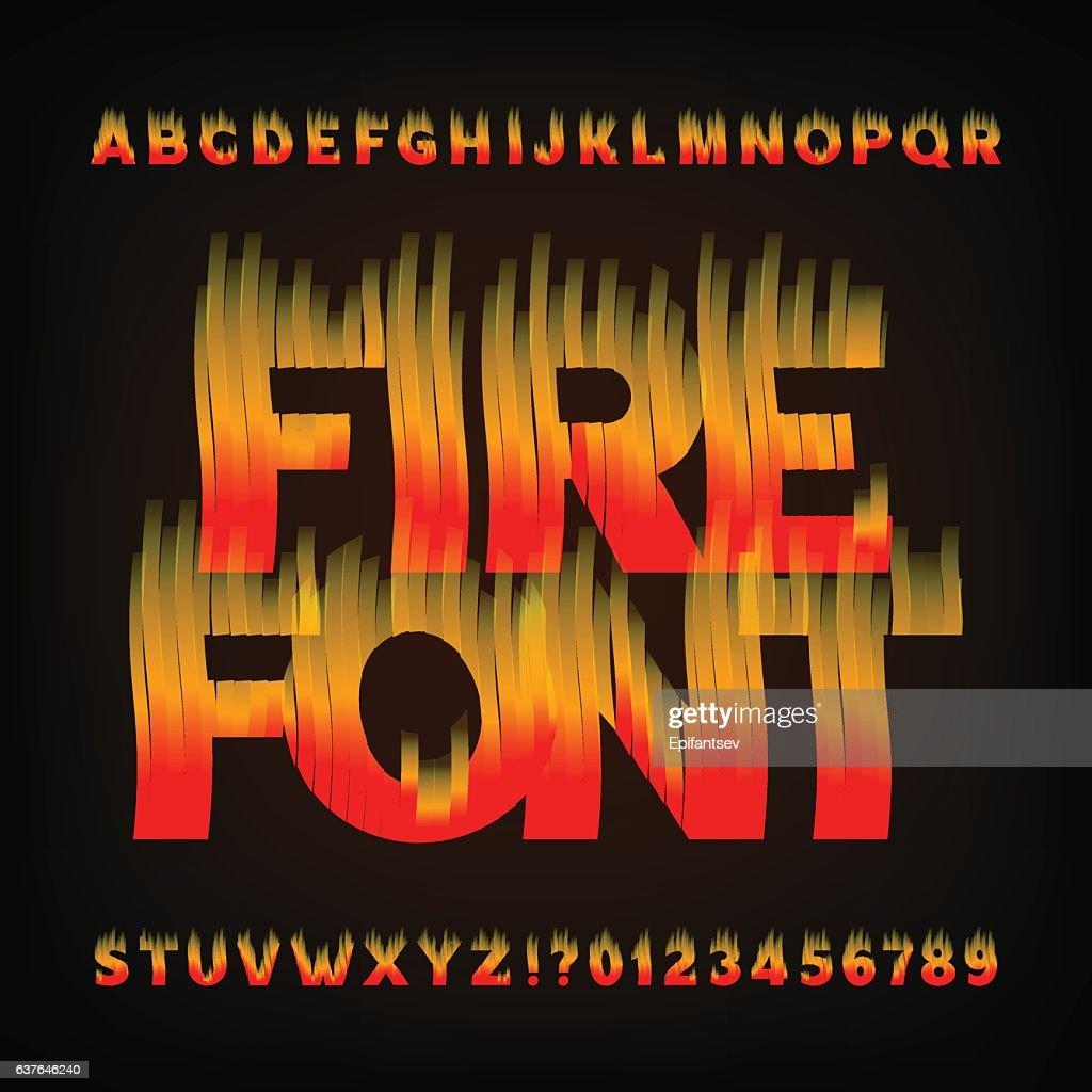 Abstract fire alphabet font