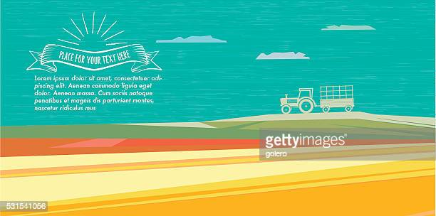 abstract flat colorful fall illustration with tractor and vintage badge - harvesting stock illustrations
