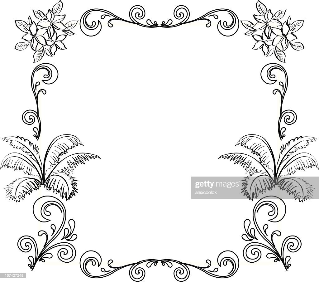 Abstract floral background, outline : Vector Art