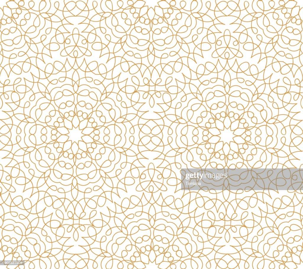 Abstract floral line oriental seamless pattern. Arabic tile ornament. Asian muslim decor. Flower geometric ornamental background.