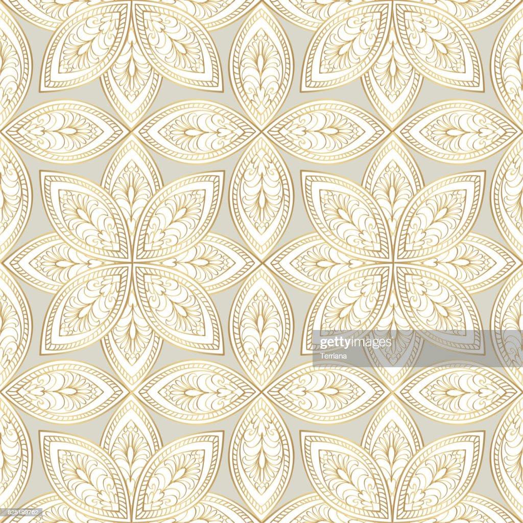 Abstract floral oriental pattern. Golden swirl line flower ornament.