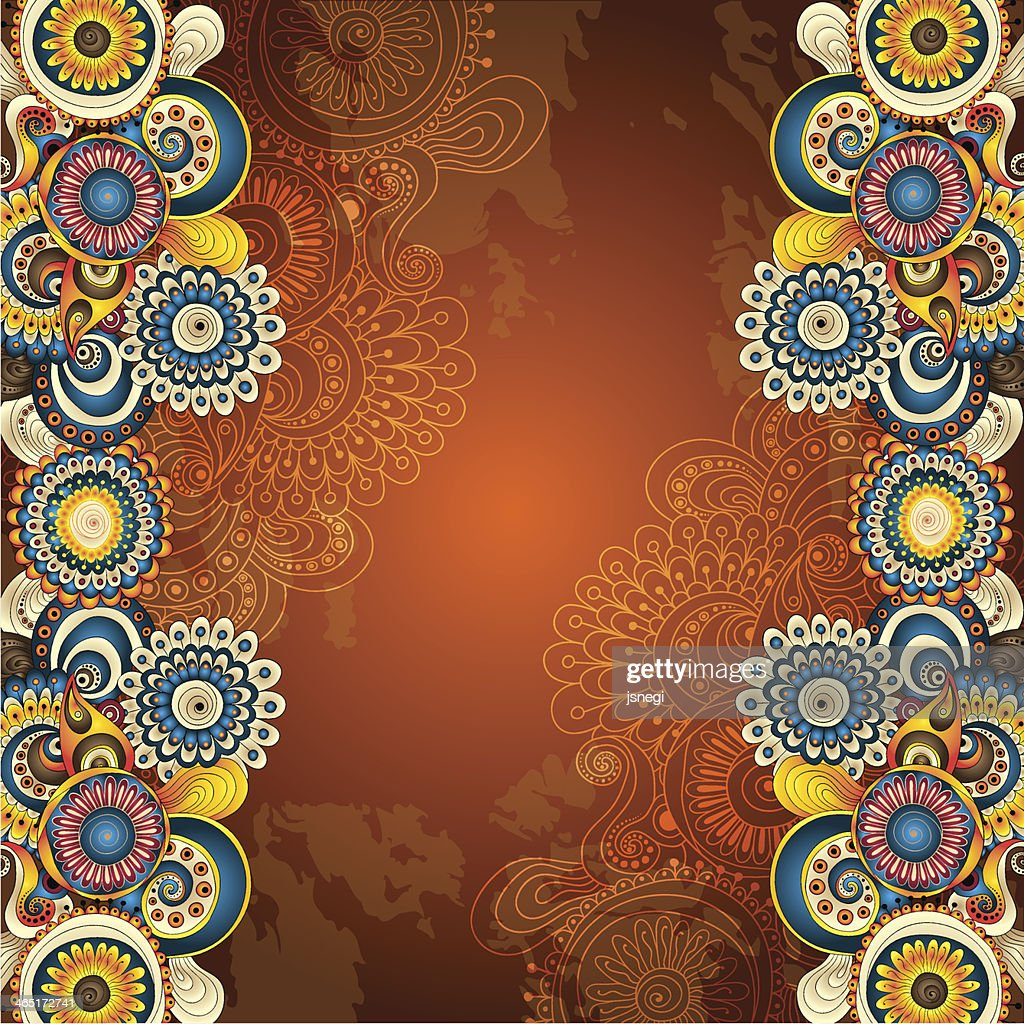 Abstract floral pattern on brown decorative background