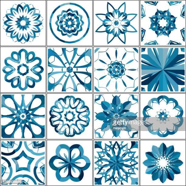 ilustraciones, imágenes clip art, dibujos animados e iconos de stock de colección de azulejos de patrón floral abstracto - rondas deportivas