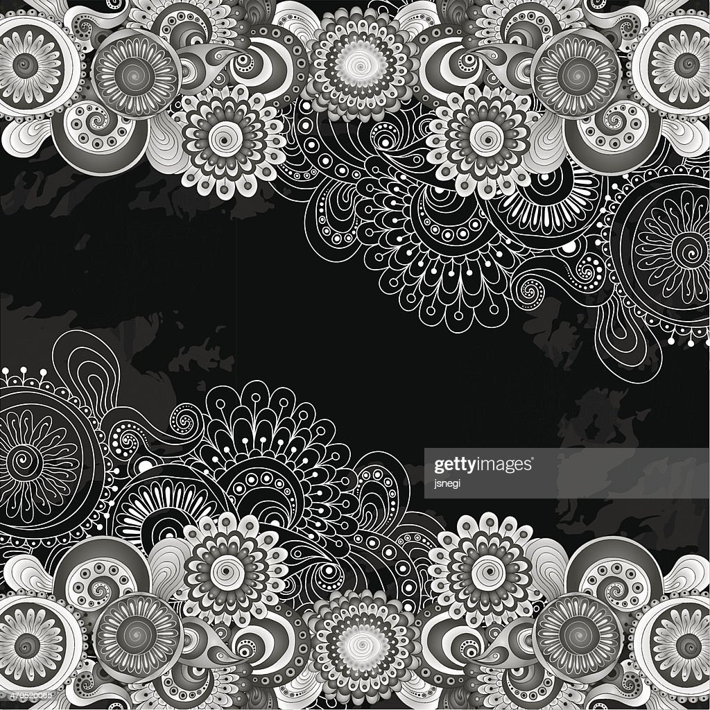 Abstract floral pattern with doodles and cucumbers.