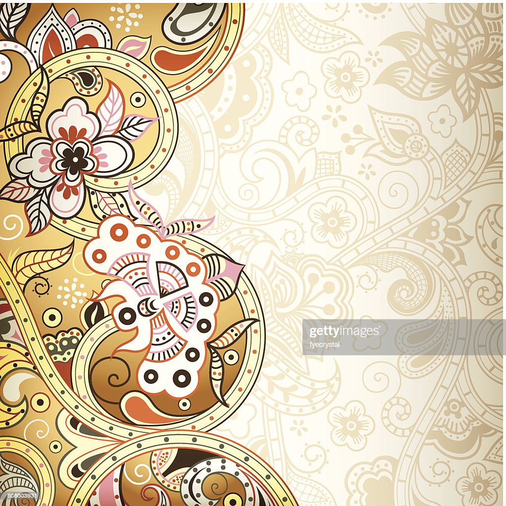 Abstract Floral Scroll : Vector Art