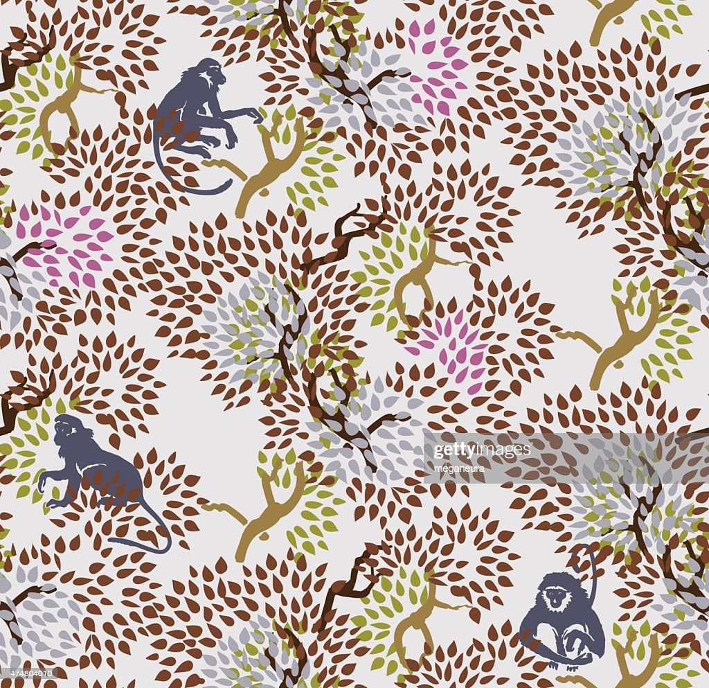 Abstract floral seamless pattern. Trees and monkeys. Exotic fore
