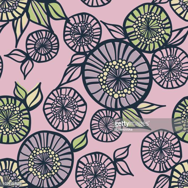 abstract floral seamless pattern - natural pattern stock illustrations