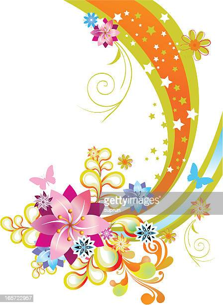 Abstract Florals on White