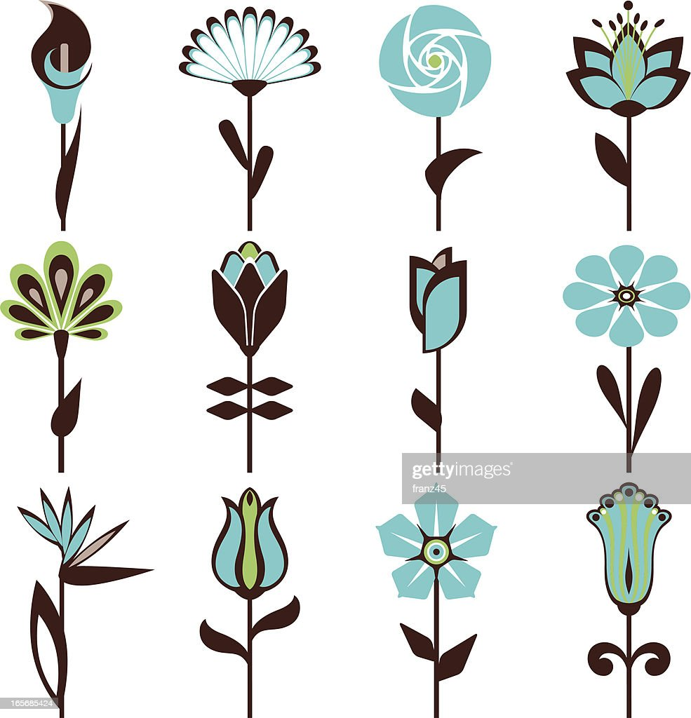 Abstract flowers in blue and black pattern