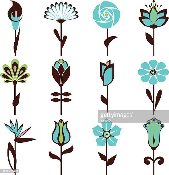 abstract flowers in blue and black pattern - calla lily stock illustrations, clip art, cartoons, & icons
