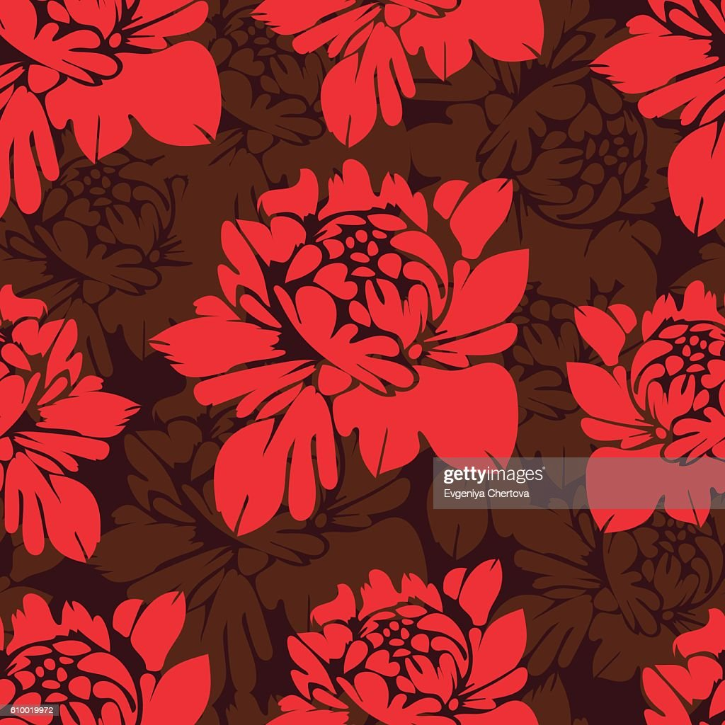 Abstract Flowers Seamless Pattern Vintage Floral Background High
