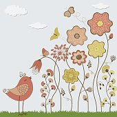 Abstract flowers with butterflies and cute bird