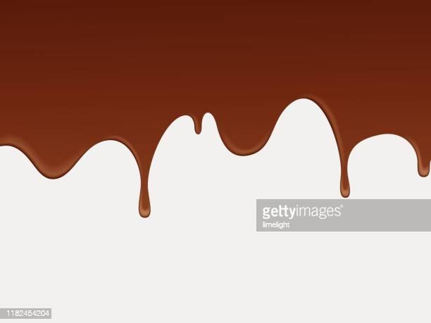 ilustrações, clipart, desenhos animados e ícones de fundo fluido abstrato do chocolate. - escorrer