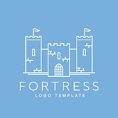 Abstract Fortress Line Style Vector Logo Template
