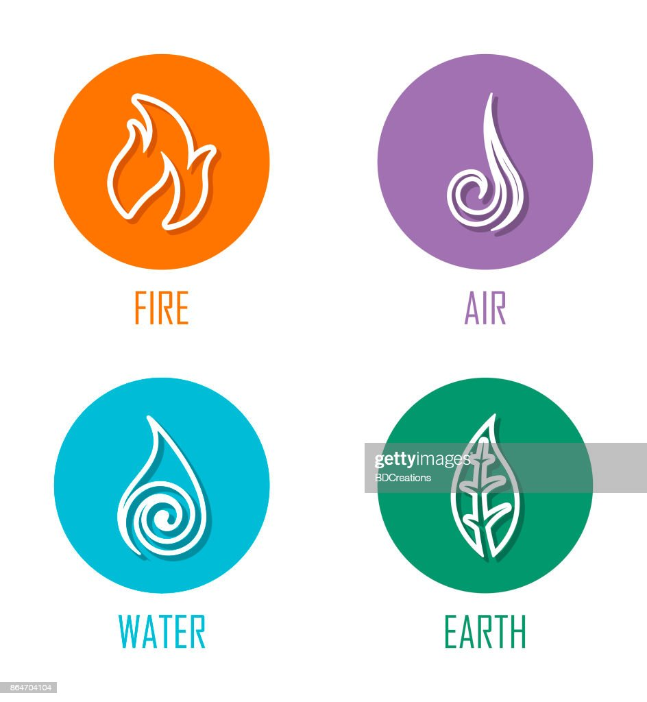 Abstract Four Elements Line Symbols Placed On Circles Vector Art
