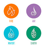 Abstract Four Elements (Fire, Air, Water, Earth) Line Symbols Placed On Circles.